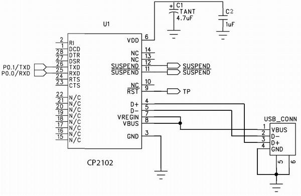 Схема включения мостов CP210x